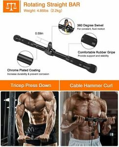Upgraded Cable Machine Attachments Tricep Rope, Curl Bar for Home Gym Crossfit