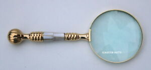 KHUMYAYAD Solid Brass Mother of Pearl 10X Magnifier, Handheld Reading Magnifying