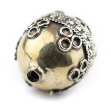 Round Afghan Tribal Brass Bead 26x20mm Afghanistan Large Hole