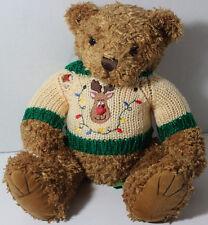 Cute FIRST & MAIN TUCKER CHRISTMAS BEAR Wearing RUDOLPH Sweater STUFFED PLUSH