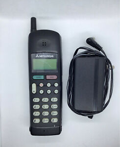 Vintage Mitsubishi AH-129 Portable Cellular Cell Phone MT-1296FOR6A With Charger
