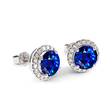 Natural Sapphire and White Topaz Halo Stud Earrings 925 Stamped Sterling Silver