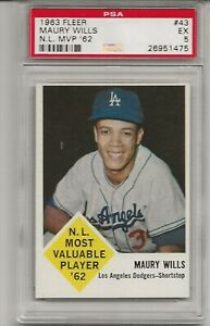 1963 FLEER # 43 MAURY WILLS, PSA 5 EX, SET BREAK - NL MVP, LOS ANGELES DODGERS