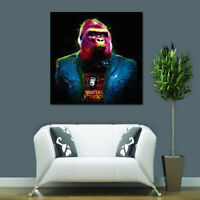 Miico Hand Painted Oil Paintings Colorful Gorilla Wall Art for Home Decoration