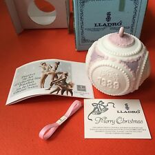 Lladro Christmas Ball 1989 Dove Matte White Pink Tree Ornament New In Box Mint