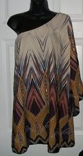LOVELY DAY DRAMA ONE SHOULDER MEDIUM BLOUSE MULTI COLOR PRINT TOP PRO CLEANED