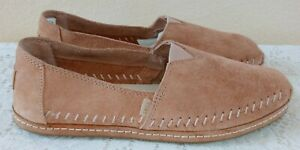 NEW TOMS Alpargata Leather Wrap Pink Suede Leather Wrap Slip On Shoes Size 9W