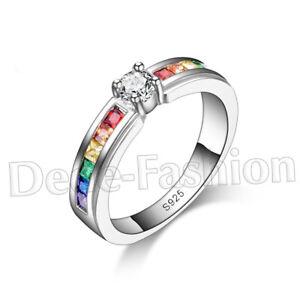 NEU 🌸 RAINBOW 925 Sterling Silber REGENBOGEN Zirkonia MEMORYRING 🌸 Ring