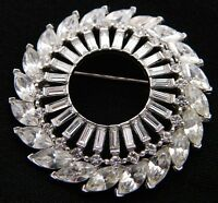 VTG 1930-40s CROWN TRIFARI Silver Tone Clear Rhinestone Large Wreath Pin Brooch
