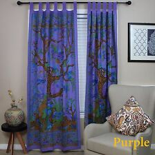 "Handmade Tree of Life Tab Top Cotton Curtain Drape Door Panel 44""x 88"" Purple"