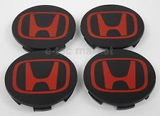 4x Honda Accord CRV Pilot Civic Element Wheel Black Red Center Caps HubCap Wheel