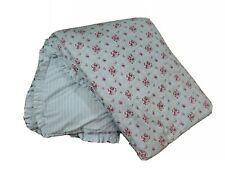 Simply Shabby Chic Blue Pink Roses Cottage Floral Stripe Twin Comforter Sham Set