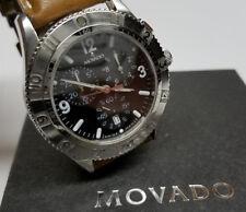 Genuine MOVADO Swiss Chronograph Silver & Black Mens Luxury Watch w Sports Strap