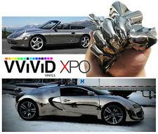 "Vvivid Xpo 3"" x 4"" sample black supercast chrome vinyl car wrap"