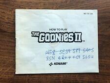 Goonies II 2 NES Nintendo Instruction Manual Only