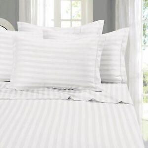 {1000-TC} 1-Piece Flat (Top) Sheet Super Soft Egyptian Cotton White Stripes