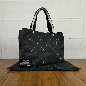 100% Authentic CHANEL old travel line tote bag ladies black used 4-103