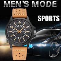Men's Army Date Stainless Steel Leather Boy Sport Quartz Wrist Watch Waterproof