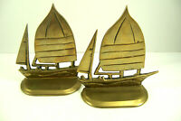 Vintage Brass Sailboat Bookends Sail Boat