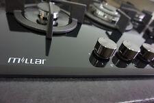 MILLAR GH7051PB 70cm 5 Burner Built-in Gas on Glass Hob - Cast Iron Stands & Wok