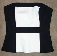 New White House Black Market Sz 0 Corset Top Colorblock Strapless Boned Bustier