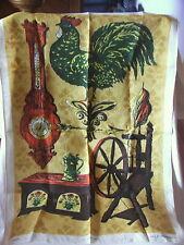 Vintage Retro Large Souvenir Tea Towel Farm House Rooster Spindle Pure Linen