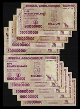 10 x 5 Billion Zimbabwe Dollars Banknotes Special Agro-Cheque Currency 10PCS Lot