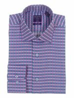 Slim Fit Blue Pink Plaid Herringbone Spread Collar Cotton Dress Shirt