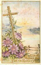 Antique Db Easter Postcard J454 Glad Shines the Sun Cross Passion Vine Flowers