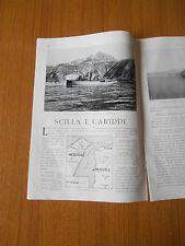 1925 SCILLA E CARIDDI STRETTO DI MESSINA NAVE MARSIGLI BAIA GIARDINI EPOCA ANTIC