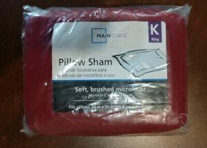 Mainstays Soft Microfiber Pillow Sham Red One King Sham NEW