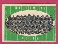1961 Topps Football # 9 Baltimore Colts Team Card -- Box 708-165