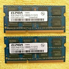Elpida 8GB DDR3 2Rx8 PC3L-12800S-11-12-F3 Laptop RAM Memory. 2x8gig Total 16gig