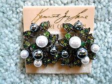 Kenneth Jay Lane Green Crystal White & Gray Pearl Vine Leaf Clip Earrings