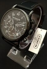 COACH 14602107 Chronograph Delancey Black Leather Strap Men's Watch