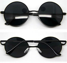 Black Lens Vintage Retro Men Women Round Metal Frame Sunglasses Eyewear Glasses