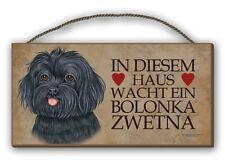 IN DIESEM HAUS  -  BOLONKA ZWETNA HOLZSCHILD MDF 25x12,5 cm 6 HUNDESCHILD