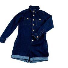 7 For All Mankind Girls' Chambray Romper L Kids Denim Blue Shorts