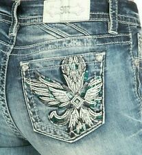 NWT MISS ME Jeans Embellished Feathers Wings Mid Rise Easy Skinny Womens Size 32