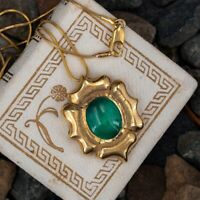 """Vintage 5 CT Emerald 2 Side Pendant Necklace With 18"""" Chain 14K Yellow Gold Over"""
