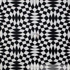 BonEful Fabric Cotton Quilt B&W Black White Wavy Check Race Car Flag Print SCRAP