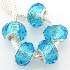 100pcs Blue Crystal Glass Beads Fit European Charm Bracelet Z01