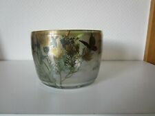 EISCH - hohe Schale mit Blumen- und Insektendekor, handsigniert: Eisch 82.