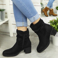 Womens Ankle Rouched Boots Ladies Casual Comfy Winter Cowboy Zip Heel New Shoes
