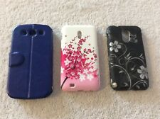 Lot Of 3 Phone Cases For Samsung Galaxy S III Phones Floral Black Silver Blue