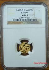 2008 China 1/20oz G20Y gold panda coin NGC MS69