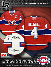 "JEAN BELIVEAU SIGNED MONTREAL CANADIENS ""10 CUPS"" JERSEY PSA/DNA RBK PREMIER"