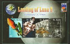 LUNA 9 Russian Spacecraft 1966 Soft Moon Landing 4v Space Stamp Sheet (St Kitts)
