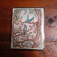 Set of 8 SPRING BLUEBIRDS Hand Colored Handmade Greeting Cards Envelopes
