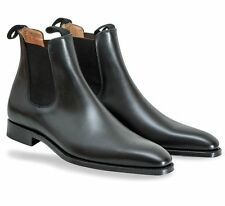 New Handmade Men's fashion Black Chelsea leather boot, Men ankle leather boots